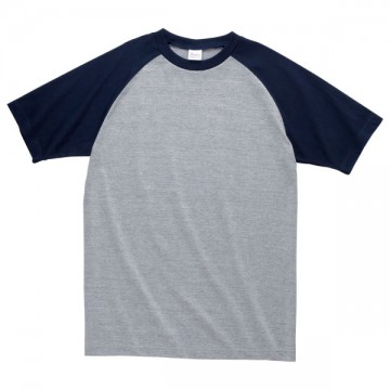 プリントスターラグランTシャツ831.杢グレー×ネイビー