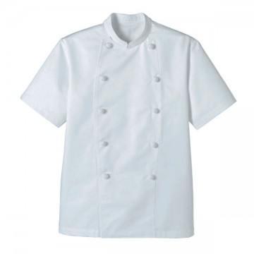 スタンド半袖コックコート15.ホワイト