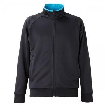ドライジャージーラグランスリーブジャケット2072.ブラック×ターコイズブルー