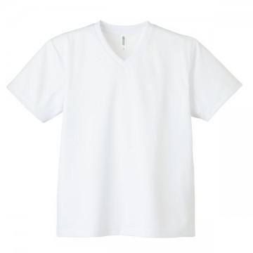4.4オンスドライVネックTシャツ001.ホワイト