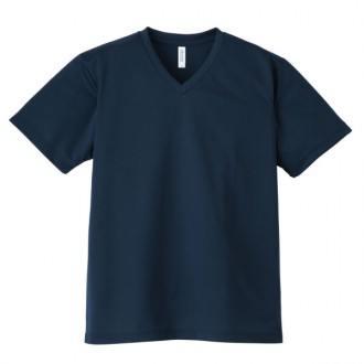 4.4オンスドライVネックTシャツ337ネイビー