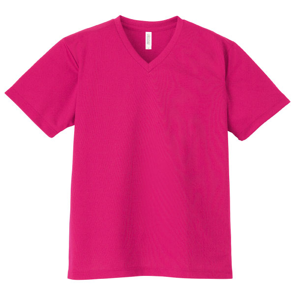 4.4オンスドライVネックTシャツ337ホットピンク