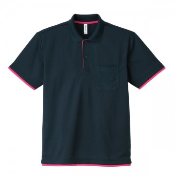 4.4オンスドライレイヤードポロシャツ666.ネイビー×ホットピンク