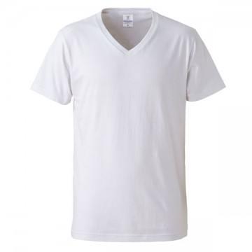 4.7オンスファインジャージーVネックTシャツ001.ホワイト