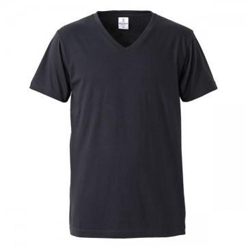 4.7オンスファインジャージーVネックTシャツ002.ブラック