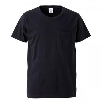 4.7オンスファインジャージーTシャツ(ポケット付)002.ブラック