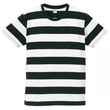 5.0オンスボールドボーダーショートスリーブTシャツ2001.ブラック×ホワイト