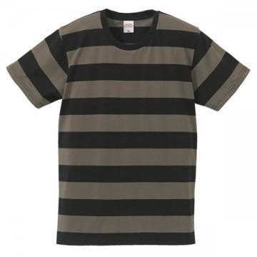 5.0オンスボールドボーダーショートスリーブTシャツ2005.ブラック×チャコール