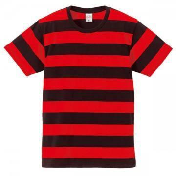 5.0オンスボールドボーダーショートスリーブTシャツ2050.ブラック×レッド