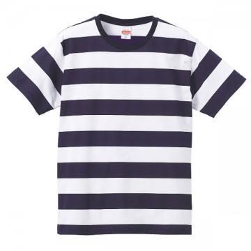 5.0オンスボールドボーダーショートスリーブTシャツ4001.ネイビー×ホワイト