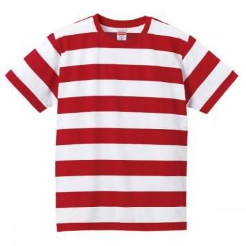 5.0オンスボールドボーダーショートスリーブTシャツ5601.レッド×ホワイト