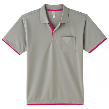 4.4オンスドライレイヤードポロシャツ646.グレー×ホットピンク