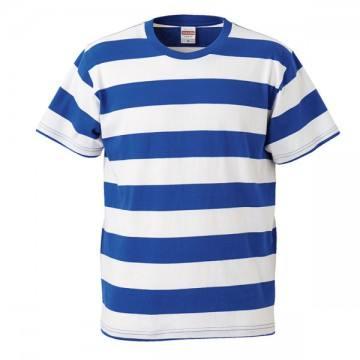 5.0オンスボールドボーダーショートスリーブTシャツ7001.ロイヤルブルー×ホワイト
