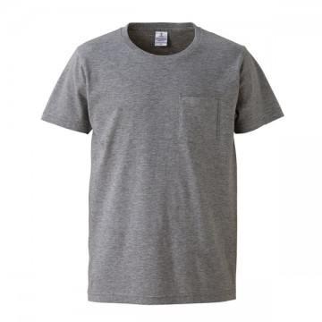 4.7オンスファインジャージーTシャツ(ポケット付)714.ヘザーグレー