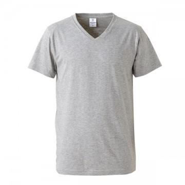 4.7オンスファインジャージーVネックTシャツ714.ヘザーグレー