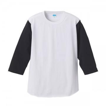 7.1オンスベースボール3/4スリーブTシャツ1002.ホワイト×ブラック