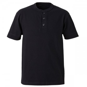 5.6オンスヘンリーネックTシャツ002.ブラック