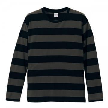 ボールドボーダーロングスリーブTシャツ2005.ブラック×チャコール
