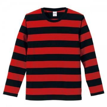 ボールドボーダーロングスリーブTシャツ2050.ブラック×レッド