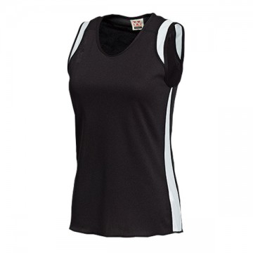 ウィメンズランニングシャツ66.ブラック×ホワイト