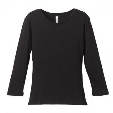 6.2オンスCVCフライス3/4スリーブTシャツ002.ブラック