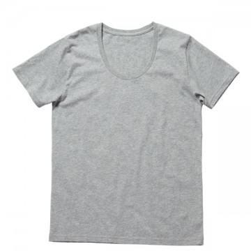 オーガニックコットンUネックTシャツ2.杢グレー