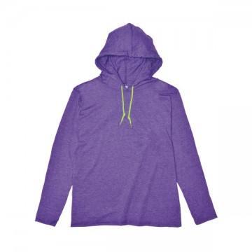 ライトウェイトフード付ロングTシャツ 4.5オンス(レディス)232C,ヘザーパープル/ネオンイエロー