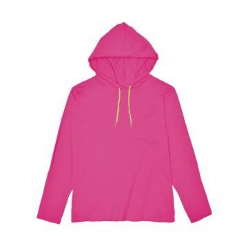 ライトウェイトフード付ロングTシャツ 4.5オンス(レディス)299C,ホットピンク/ネオンイエロー