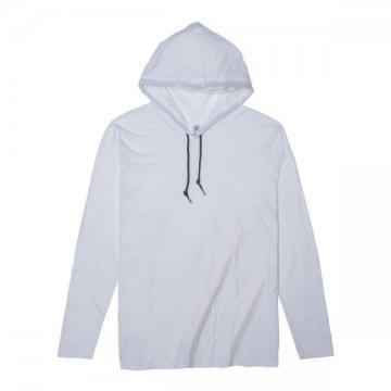 ライトウェイトフード付ロングTシャツ 4.5オンス30N,ホワイト/ダークグレー