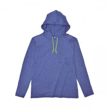ライトウェイトフード付ロングTシャツ 4.5オンス(レディス)321C,ヘザーブルー/ネオンイエロー