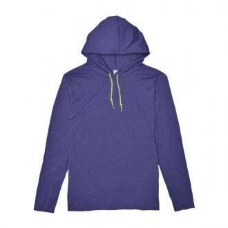 ライトウェイトフード付ロングTシャツ 4.5オンス 987ヘザーブルー/ネオンイエロー