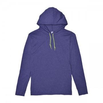 ライトウェイトフード付ロングTシャツ 4.5オンス321C,ヘザーブルー/ネオンイエロー