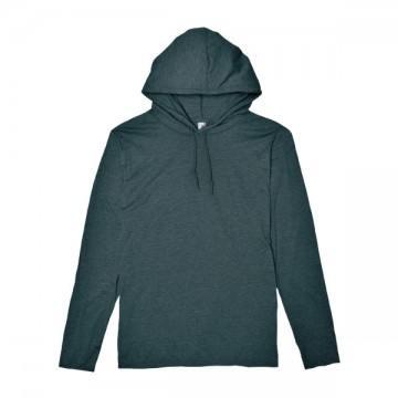 ライトウェイトフード付ロングTシャツ 4.5オンス334C,ヘザーダークグレー/ダークグレー