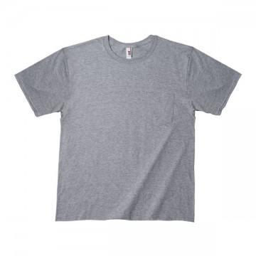 ミッドウェイト ポケットTシャツ 5.4オンス346H,ヘザーグレー