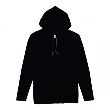 ライトウェイトフード付ロングTシャツ 4.5オンス36C,ブラック/ダークグレー