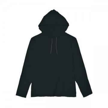 ライトウェイトフード付ロングTシャツ 4.5オンス(レディス)36C,ブラック/ダークグレー