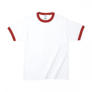 RSコットンリンガーTシャツFC030,ホワイト/レッド