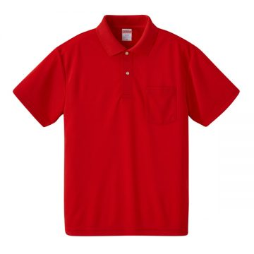 4.1オンスドライアスレチックポロシャツ(ポケット付)069.レッド