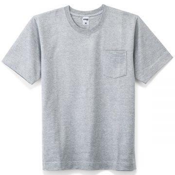 10.2ozスーパーヘビーウェイトTシャツポケット付き2.杢グレー