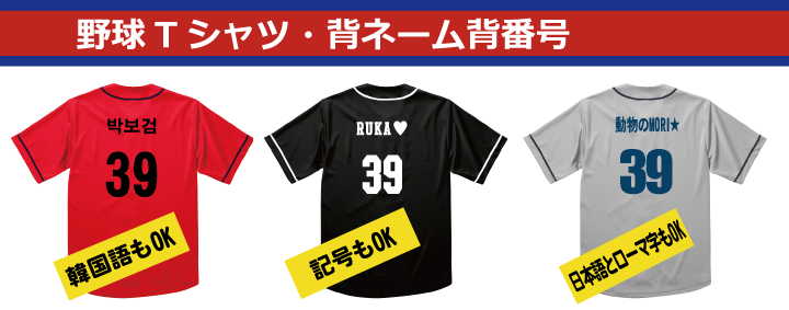 クラスTシャツ野球背ネーム(名前)
