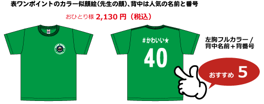 クラスTシャツデザイン背ネーム+背番号