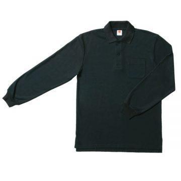 【SALE】ポケット付鹿の子長袖ポロシャツ16.ブラック