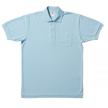 【SALE】ポケット付鹿の子ポロシャツ6.サックス