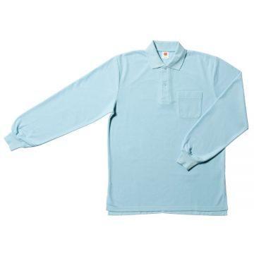 【SALE】ポケット付鹿の子長袖ポロシャツ6.サックス