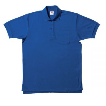 【SALE】ポケット付鹿の子ポロシャツ7.ブルー