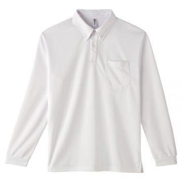 4.4オンスドライボタンダウン長袖ポロシャツ001.ホワイト