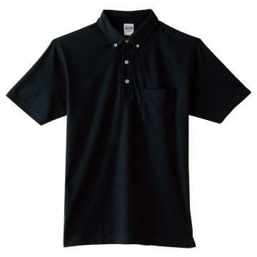 4.9オンスボタンダウンポロシャツ(ポケット付)005.ブラック