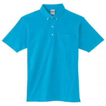 4.9オンスボタンダウンポロシャツ(ポケット付)034.ターコイズ