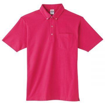 4.9オンスボタンダウンポロシャツ(ポケット付)146.ホットピンク