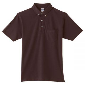 4.9オンスボタンダウンポロシャツ(ポケット付)168.チョコレート